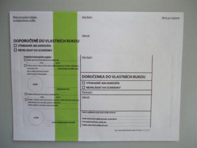 Obálka se zeleným pruhem typ 1 doručenka do vlastních rukou(1276920042)