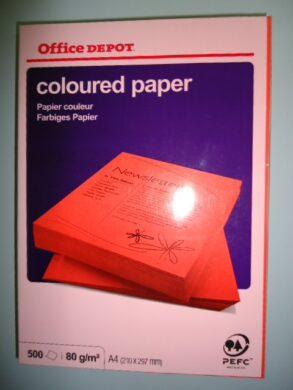 Papír barevný A4 80g červený intenzivní  (bal. - 500ks)(1276920163)