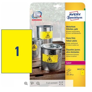 Label adhesive PET A4 yellow (20pcs)(1289008763)