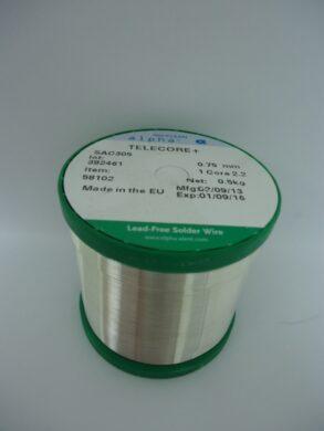 Drát pájecí TELECORE+ 2,2%  0,75mm  0,5kg cívka SAC 305(8487001445)