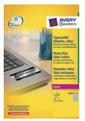 Label A4 Avery 210x297mm L6013 silver matt (20sheets)-1 ks A4/ 20 etiket/ 20 archů