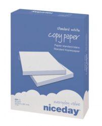 Papír kancelářský Niceday Copy A4, 80g/m2,  500 listů-Kancelářský papír standardní kvality Vhodný na černobílý tisk a nenáročný barevný tisk na inkoustových i laserových zařízeních CIE bělost 146 Nejmenší prodejní množství 5 balíků (1 balík = 500 listů A4) Uvedená cena je za 1 balík po 500 listech