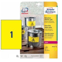 Etikety PET A4 samolepící žluté (20ks)  Avery L6111-20-Formát A4 - 20 listů, rozměr 210x297 mm, 20 ks etiket v balení, kulaté rohy, barva žlutá, polyesterová fólie.