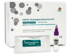 COVID-19 Antigen Detection Kit- Antigenní test.  Detekuje všechny mutace viru SARS-CoV-2,  Odběr vzorku z přední části nosu,  Jednoduchá obsluha,  25 individuálně balených testů v balení,  Návod v ČJ,  Citlivost 95,96%, specificita 99,47%,  Výsledek za 10-15 minut,