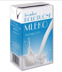 Milk durable semi-fat, 1L, 1.5% fat 12pcs - Half-fat milk - 1.5% fat Volume 1 l Brand and packaging may change during the year.