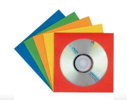 Obal papírový na CD/DVD mix  5 barev,  100ks-12,5 x 12,5 cm