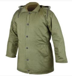 Kabát vatovaný zelený  L/54-Pánský kabát, zateplený výplní z dutého vlákna, impregnovaný proti vodě, 3/4 délka, odnímatelná zateplená kapuce, zapínání na knoflíky, boční kapsy.