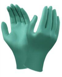 Rukavice Ansell Touch N Tuff  92-600  vel.XL  (100ks)-Světová špička mezi jednorázovými rukavicemi pro ochranu před postřikem chemikáliemi. Zelené antistatické jednorázové rukavice ze 100% 0,12 mm silného nitrilu bez příměsí, s rolovaným okrajem,  nepudrované. Délka rukavic 24 cm.
