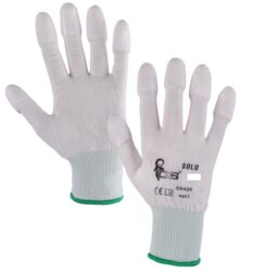 Polyester gloves with the fingers soaked in polyurethane SOLO size S/7 - Balení 12 párů; v kartonu 240 párů