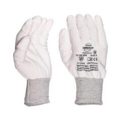 White Knitted ESD PU Fingertips Coated size  XS/6-Kvalitní antistatické rukavice