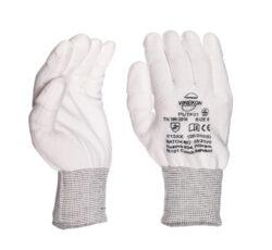 White Knitted ESD PU Fingertips Coated size  L/9-Kvalitní antistatické rukavice